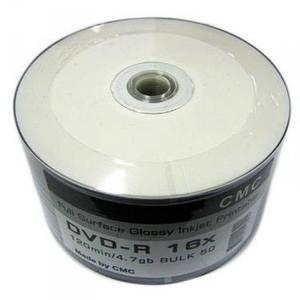 Диск CMC Magnetics DVD-R 4,7 GB 16x, Full-face inkjet printable white glossy, Bulk/50
