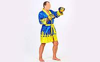 Халат боксерский TWINS  (сатин, р-р M-XL, синий-желтый)