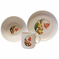 Набор детской посуды фарфоровой Cmielow Happy Bunny 6503T06E2B122