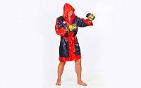 Халат боксерский с капюшоном TWINS  (сатин, р-р M-XL, черный-красный)