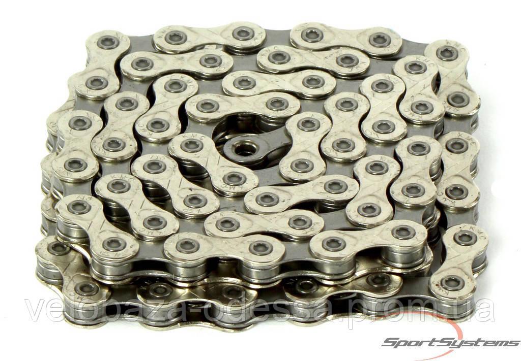 Цепь KMC X10 SL ультралегкая цепь для гоночных байков с 10-ти скоростной трансмиссией. Совместимая с Shimano и Compagnolo.116 звеньев,замок в