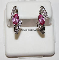 Серьги с розовыми фианитами Даяна, фото 1