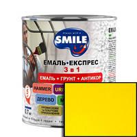Грунт-эмаль Smile 3 в 1 антикоррозионная Желтая 0,8кг