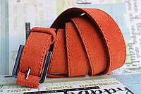 Оранжевый замшевый женский ремень