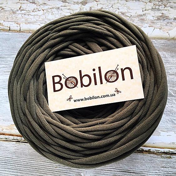 Ленточная пряжа Бобилон 7-9 мм, цвет Хаки 50 м