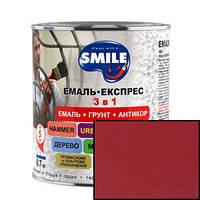 Грунт-эмаль Smile 3 в 1 антикоррозионная Красная гладкая 0,8кг