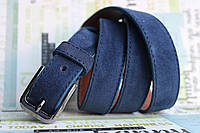 Замшевый кожаный синий женский ремень