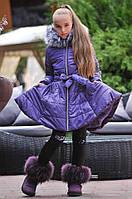 """Приталенная детская куртка-пальто для девочки """"Колокольчик"""" с мехом на капюшоне (5 цветов)"""
