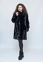 Норковая шуба с капюшоном, поперечная сборка меха, цвет - черный, фото 1