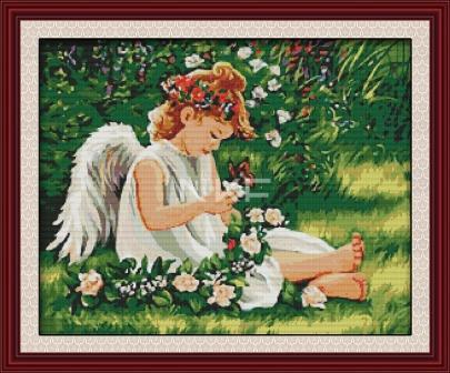 Ангел и цветы R215 Набор для вышивки крестом
