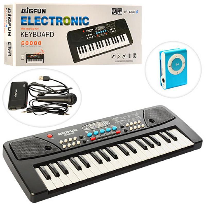 Детский синтезатор,37 клавиш, микрофон, запись, 8 тонов, USB заряд. MP3 плеер, BF-430C4