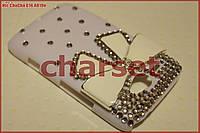 Чехол бампер для HTC Chacha G16 белый с бантом