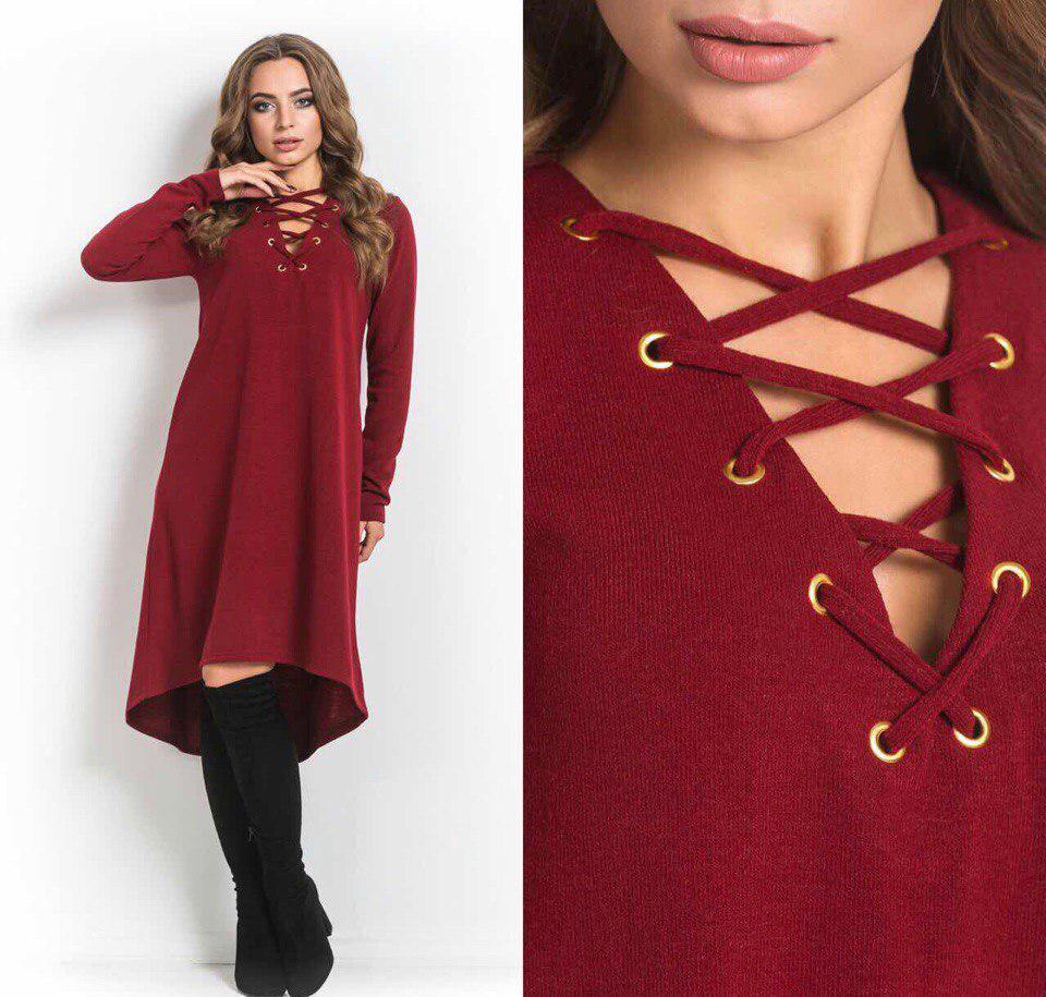 5f6b84dfab6 Женское стильное платье ангора со шнуровкой - Стильная женская одежда  оптом