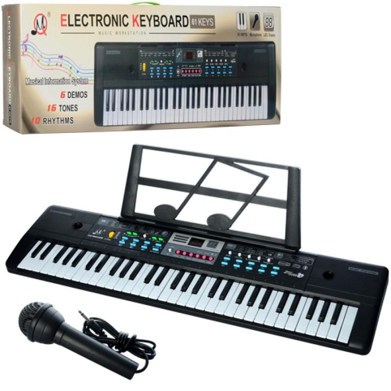 Детский синтезатор 61 клавиша, микрофон, запись, 16 тонов, 10 ритмов, Bluet, USB вход, MQ601-605UFB