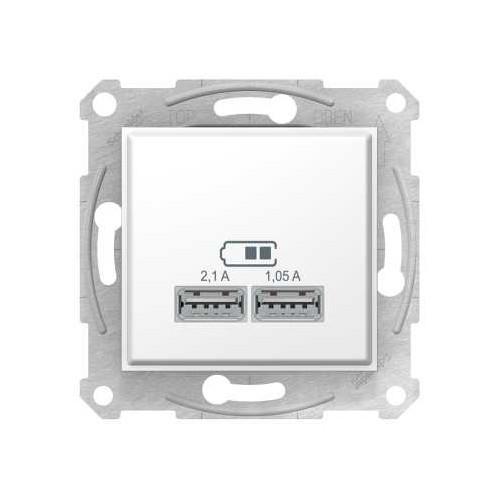 Розетка USB 5В 2.1А, Sedna белый
