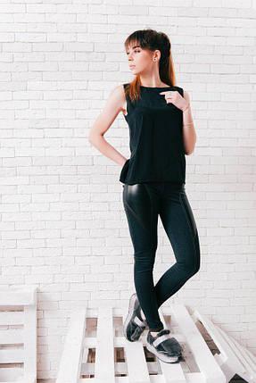 """Женские джинсовые леггинсы """"Julissa"""" с кожаными вставками, фото 2"""