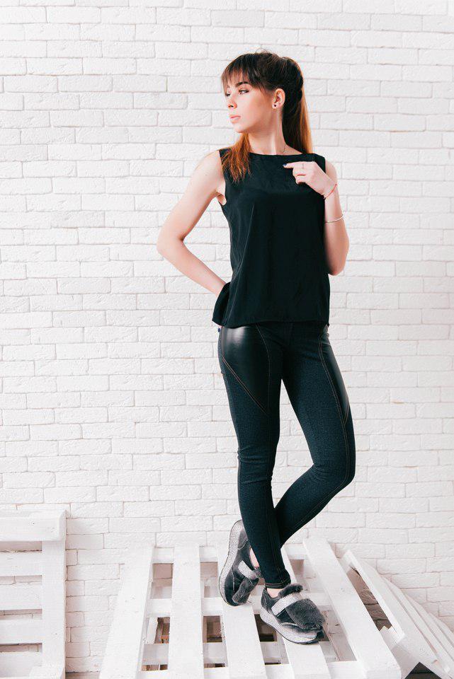 """Женские джинсовые леггинсы """"Julissa"""" с кожаными вставками"""