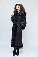 Длинная черная женская дубленка, с капюшоном (изготовлена из натуральной овчины), фото 1