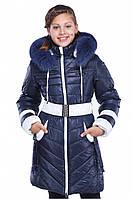 Синее модное детское  пальто с мехом  Дженни