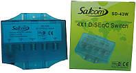 DiSEqC 2.0 4×1 Satcom SD-43w в кожухе