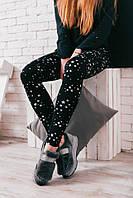 """Теплые женские леггинсы на меху """"Stars"""" с принтом и завышенной талией (4 цвета)"""