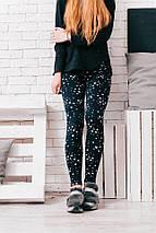 """Теплые женские леггинсы на меху """"Stars"""" с принтом и завышенной талией, фото 2"""