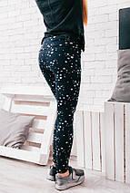 """Теплые женские леггинсы на меху """"Stars"""" с принтом и завышенной талией, фото 3"""