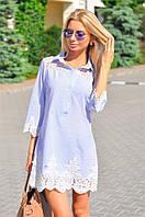 Фешенабельное платье в полоску Stina с вставкой из кружевного гипюра, низ платья и рукава отделка из шикарного кружева с ажурным узором (134)9062