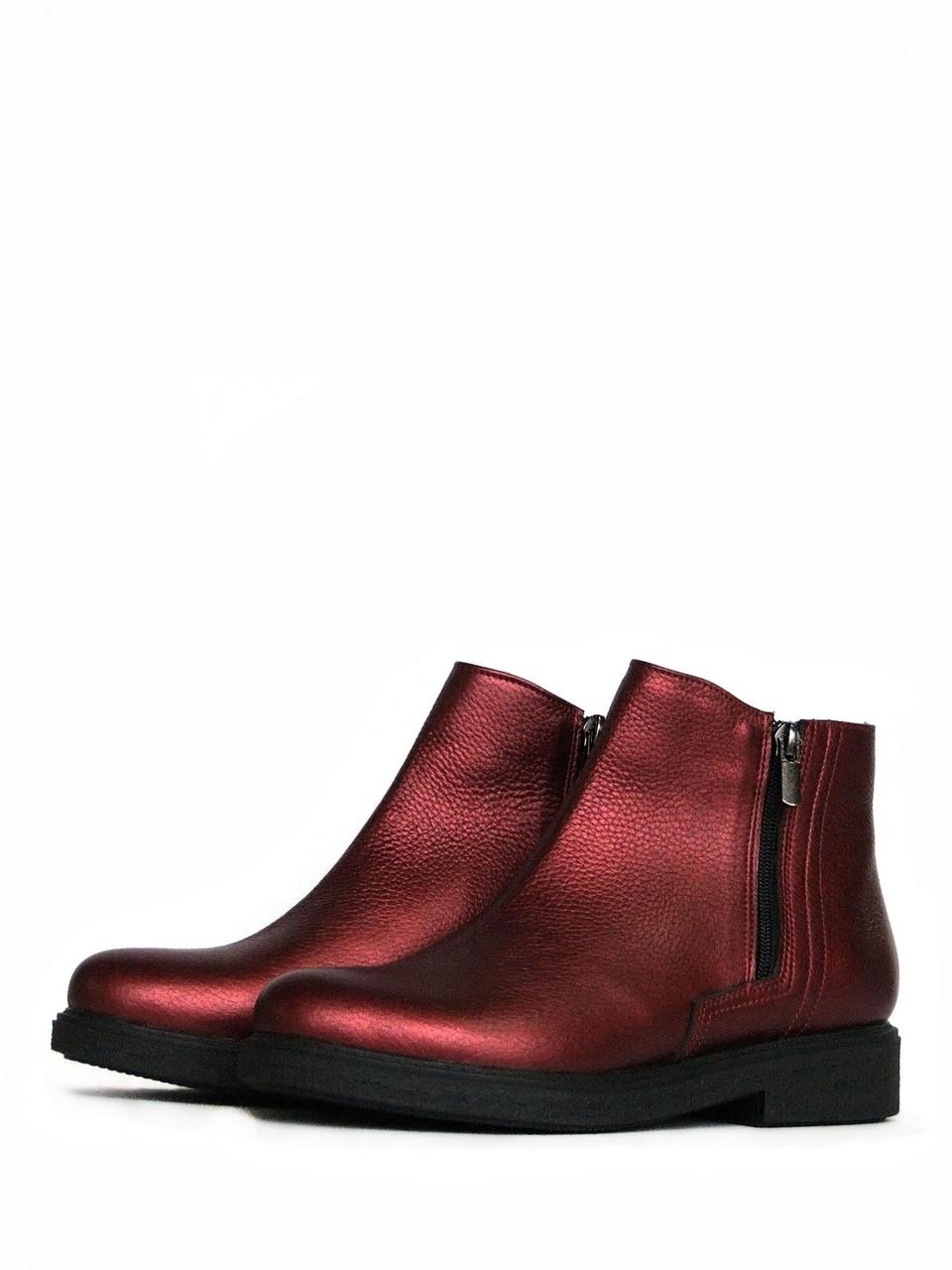 Бордовые зимние ботинки