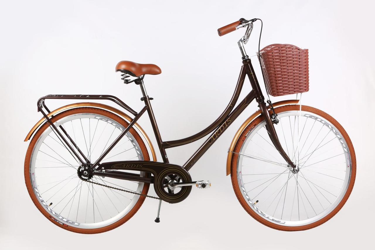 """Городской велосипед ARDIS """"VERONA""""  26"""" женский с корзиной и багажником, Коричневый"""