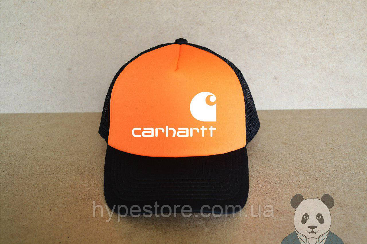 Кепка, бейсболка Carhartt (черно-оранжевый), Реплика