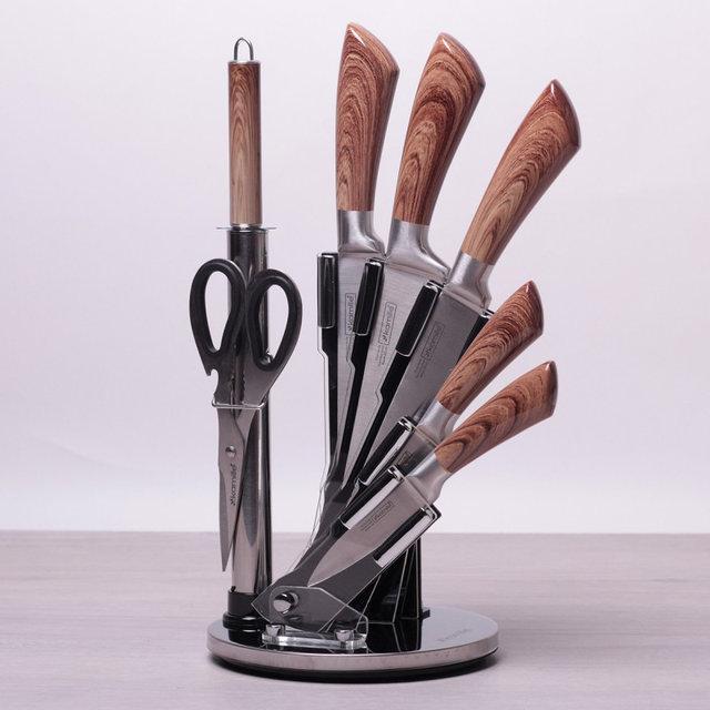 Набор кухонных ножей (закаленная сталь) Kamille, 5 ножей + точилка + ножницы на акриловой подставке