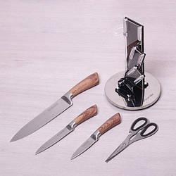 Набор кухонных ножей (закаленная сталь) Kamille, 3 ножа + ножницы на акриловой подставке