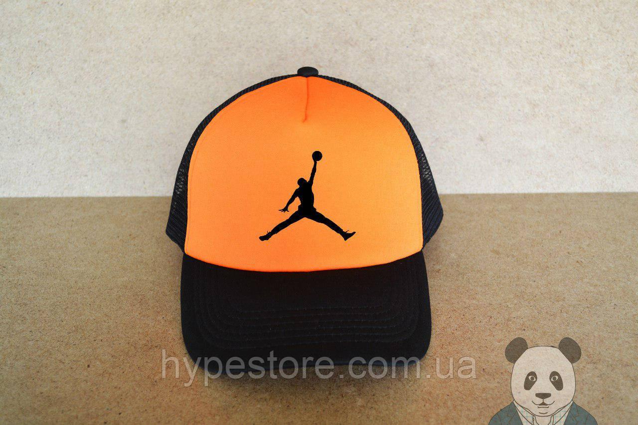 Кепка, бейсболка Jordan (черно-оранжевый), Реплика