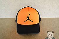 Кепка, бейсболка Jordan (черно-оранжевый), Реплика, фото 1