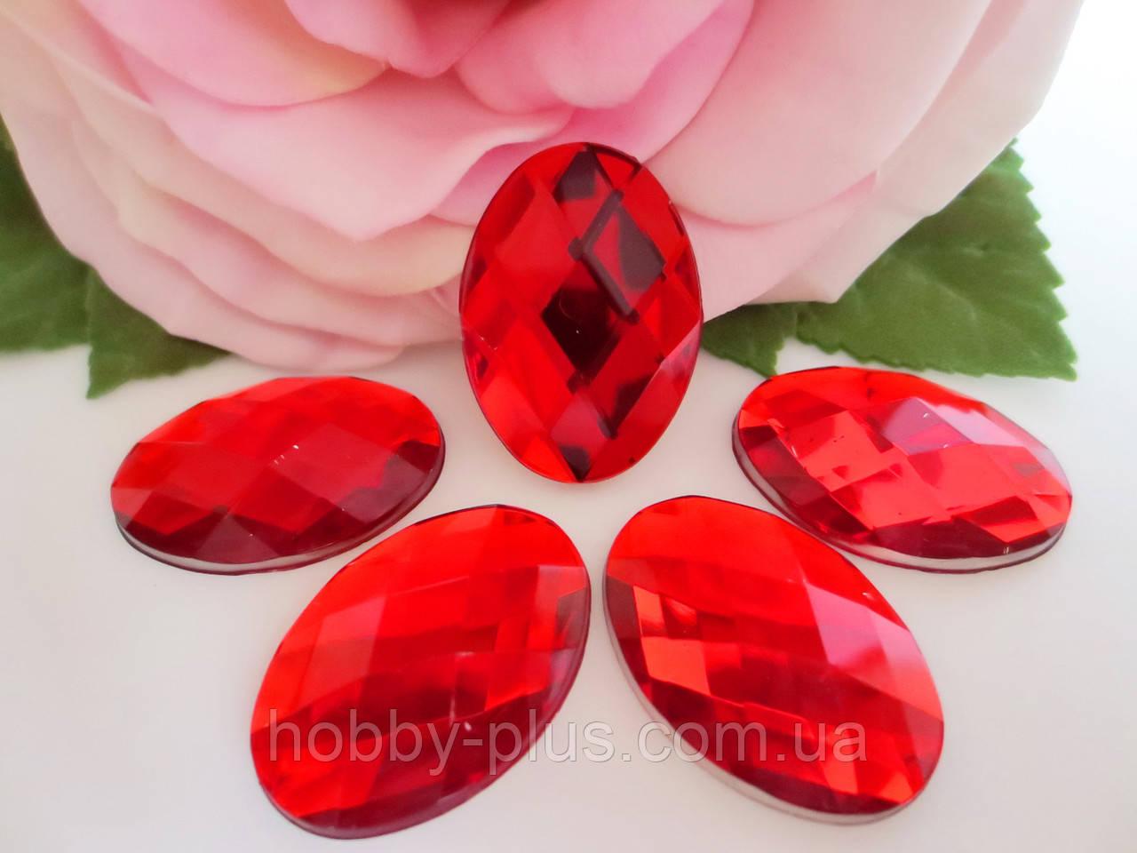 Камень клеевой, 18х25 мм, цвет красный