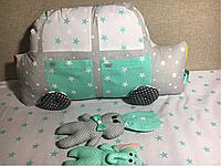 Защита Бортики в детскую Кроватку машинка с пассажирами