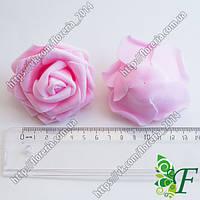 Головка розы латексной D70мм розовая светлая за 12 шт