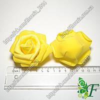 Головка розы латексной D70мм желтая за 12 шт