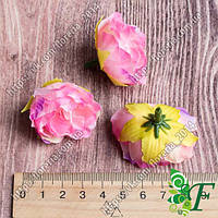 Головка розочки сатиновой малина-сирень за 12 шт
