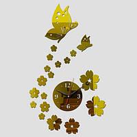 """Часы зеркальные пластиковые """"бабочки с цветами золотые"""" , часы наклейки акрил"""