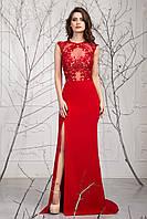 Шикарное красное платье Одри с гипюром