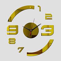 """Часы зеркальные пластиковые """"арабские цифры золотые"""" , часы наклейки акриловые"""