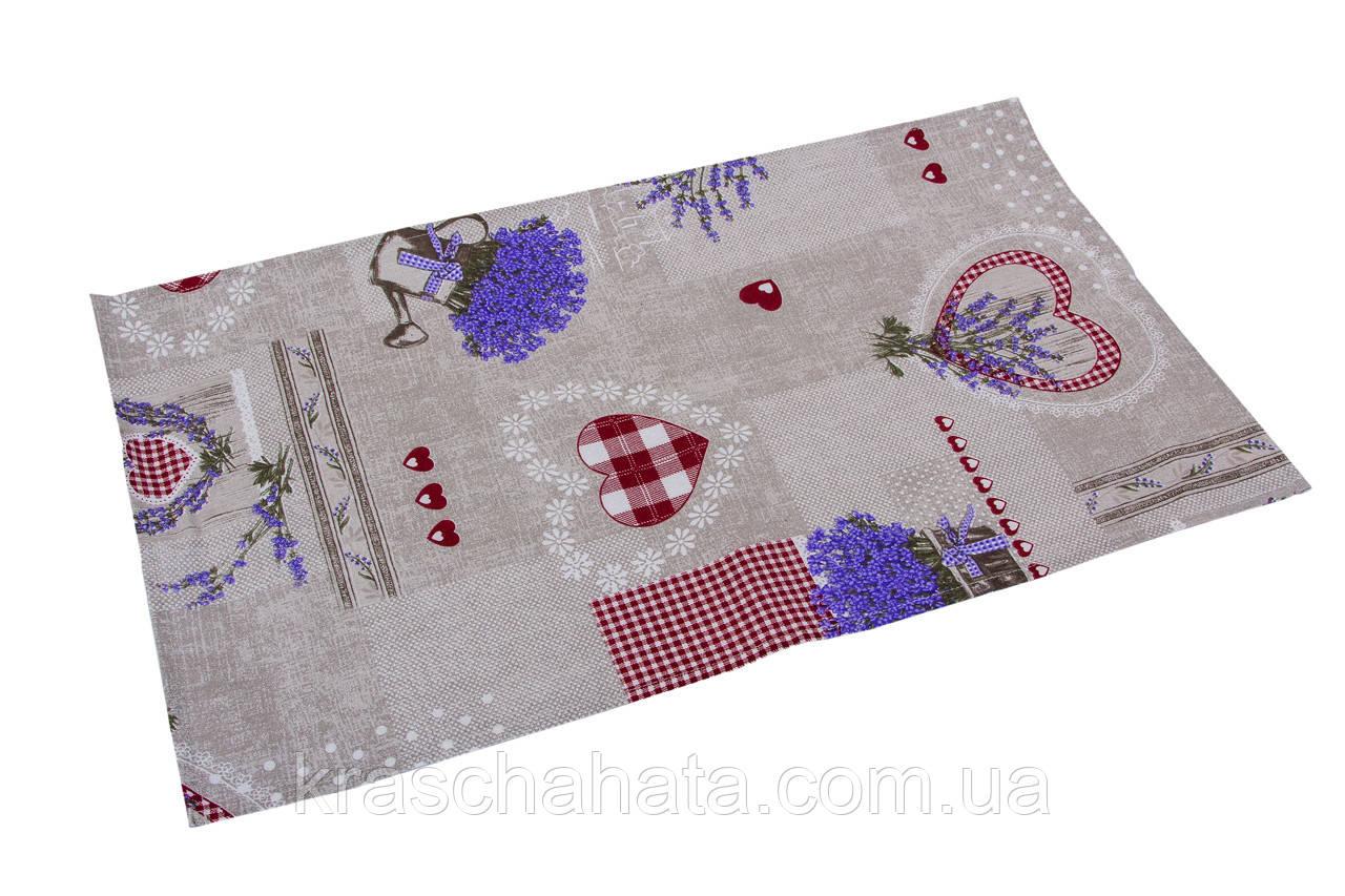 Кухонное полотенце, Лаванда Сердце размер 35х65см, Оригинальные подарки, Домашний текстиль текстиль