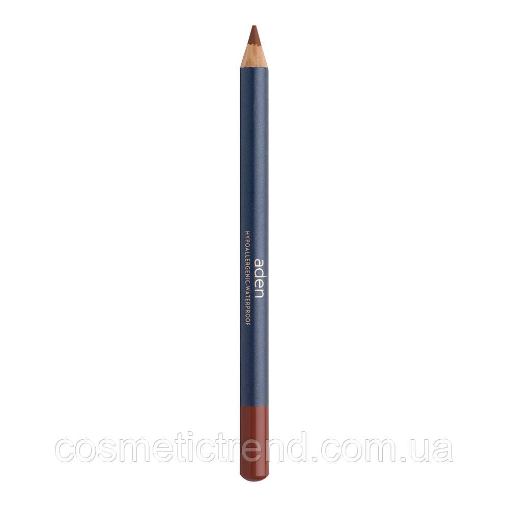 Карандаш для губ водостойкий деревянный Lipliner Beech N33 (натуральный розовый) Aden Cosmetics
