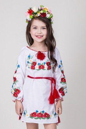 d5d3c1990994e12 Детское вышитое платье на девочку с маками и васильками - Оптово-розничный  магазин одежды