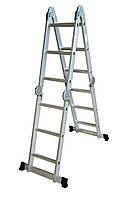 Лестница алюминиевая трансформер,3 ступени * 4 секции(h=3,1м,12кг),Technics ,70-143