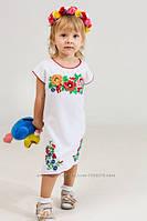 Детское платье-туника с вышитыми маками для девочек