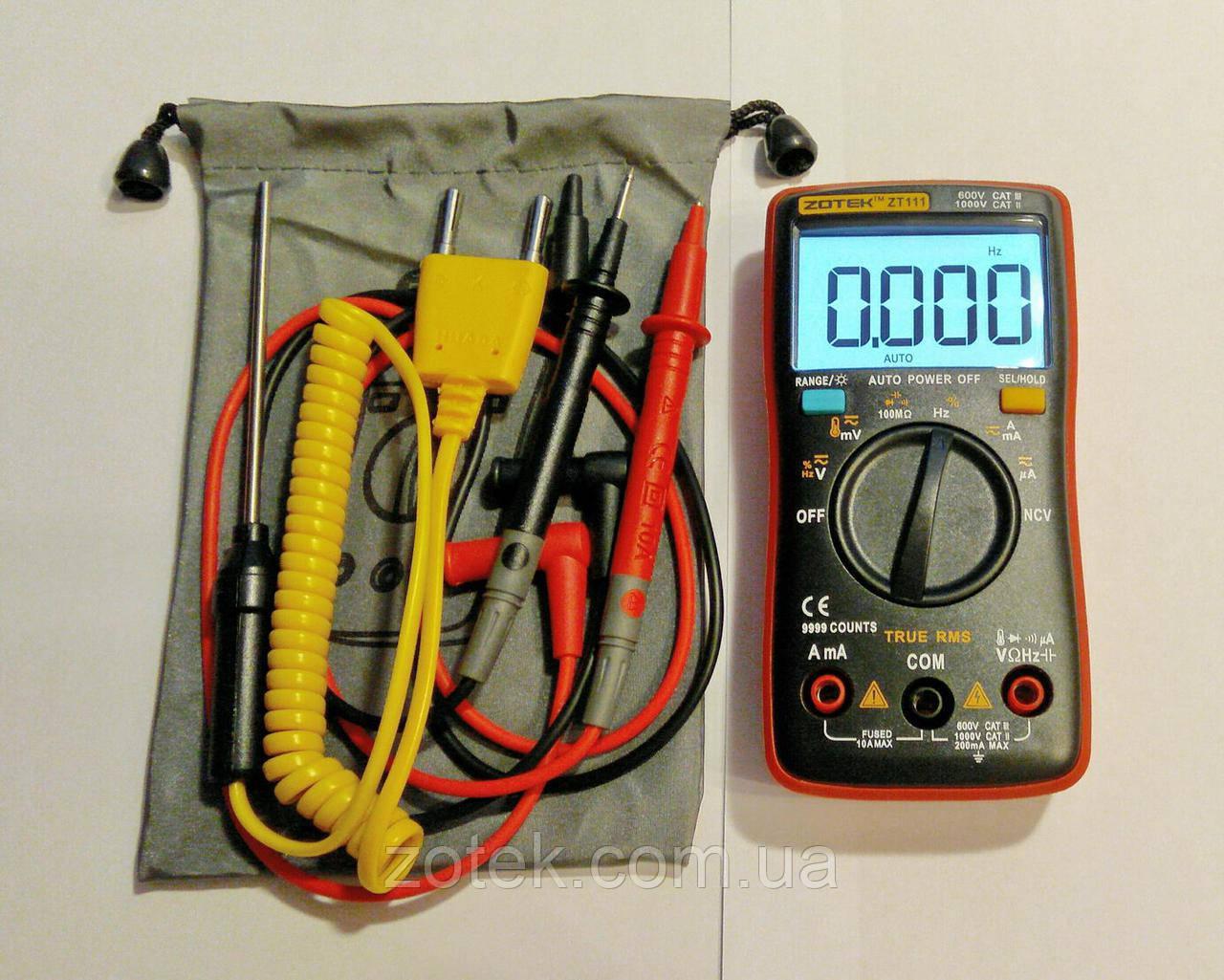 Мультиметр ZOTEK ZT111 NCV True RMS 9999 отсч., (RM111) 100 000 МкФ