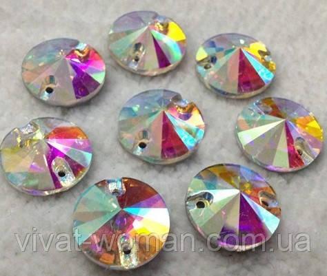 Стразы пришивные Риволи (круг) d 8 мм Crystal AB, стекло